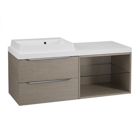 Tavistock Array Two Drawer Unit & Basin with 600mm Open Unit - Light Java