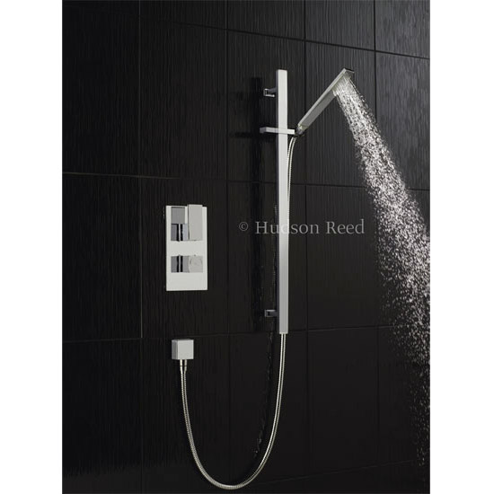 Hudson Reed Art Twin Concealed Thermostatic Shower Valve w/ Rectangular Slider Rail Kit profile large image view 1