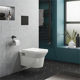 Arezzo Matt Black Dual Flush Concealed WC Cistern with Wall Hung Frame + Modern Toilet