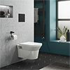 Arezzo Matt Black Dual Flush Concealed WC Cistern with Wall Hung Frame + Modern Toilet profile small image view 1