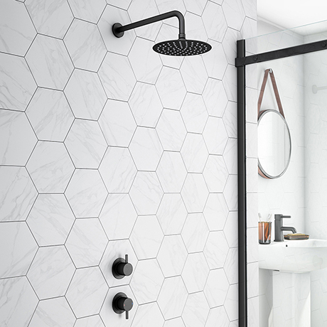 Arezzo Matt Black Concealed Individual Stop Tap + Thermostatic Control Valve with 200mm Shower Head
