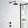 Arezzo Matt Black Concealed Individual Stop Tap + Thermostatic Control Valve with 200mm Shower Head profile small image view 1