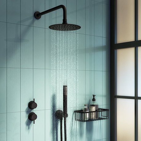 Arezzo Matt Black Concealed Individual Diverter + Thermostatic Control Valve with Handset + 200mm Sh