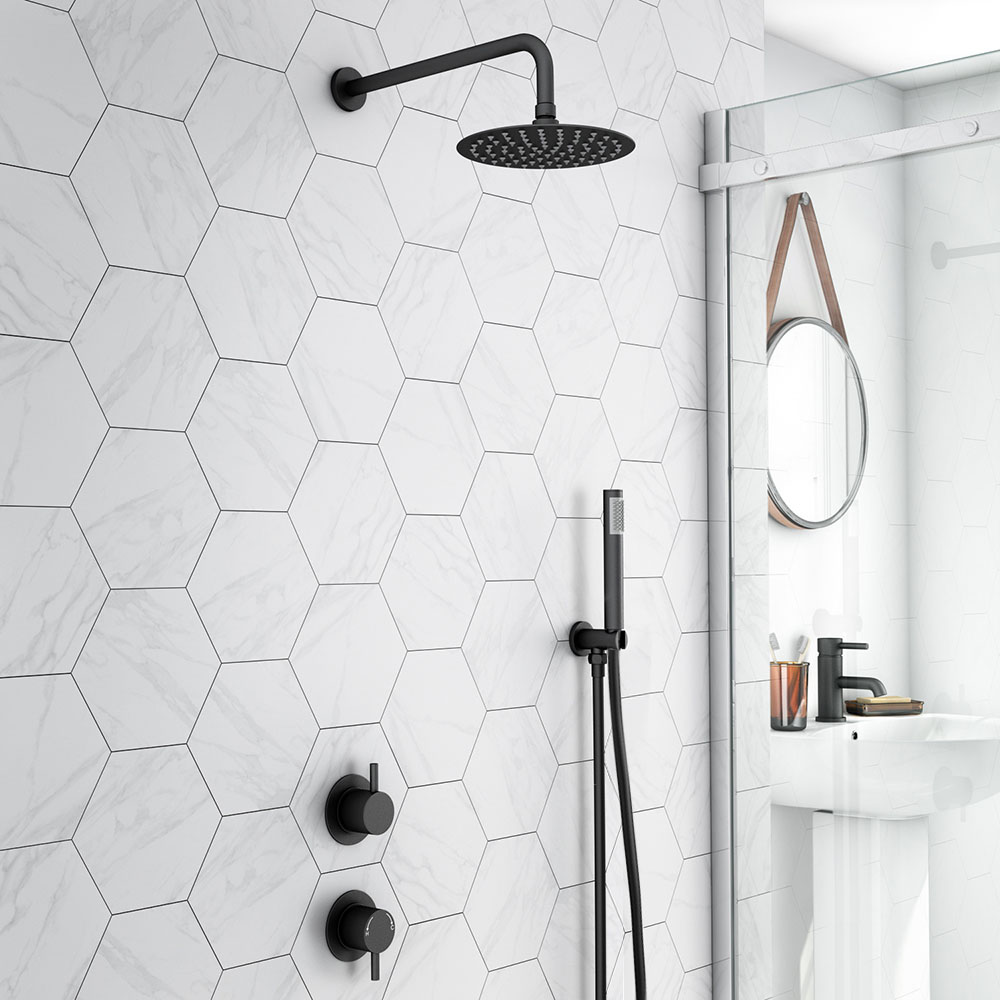Arezzo Matt Black Concealed Individual Diverter + Thermostatic Control Valve with Handset + 200mm Shower Head