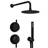 Arezzo Matt Black Concealed Individual Diverter + Thermostatic Control Valve with Handset + 200mm Shower Head profile small image view 1