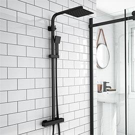 Arezzo Modern Square Thermostatic Shower - Matt Black