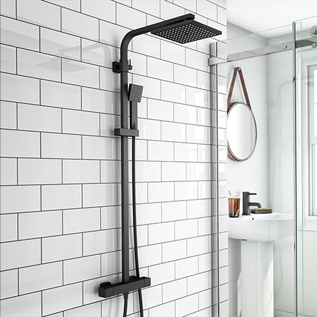 Arezzo Modern Square Thermostatic Shower - Matt Black