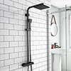 Arezzo Modern Square Thermostatic Shower - Matt Black profile small image view 1