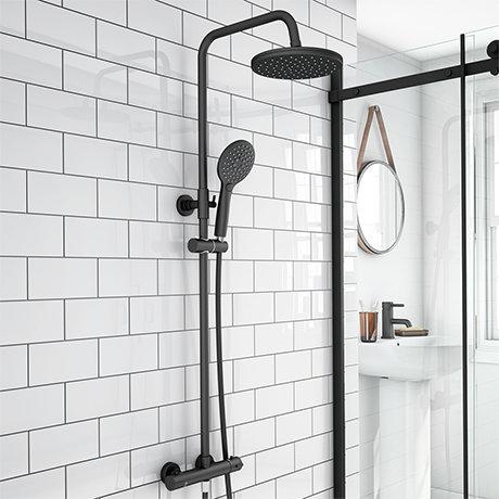 Arezzo Modern Round Thermostatic Shower - Matt Black