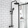 Arezzo Modern Round Thermostatic Shower - Matt Black profile small image view 1