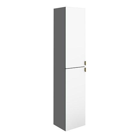 Arezzo Matt Grey Mirrored Wall Hung Tall Storage Cabinet with Brushed Brass Handles