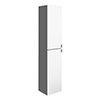 Arezzo Matt Grey Mirrored Wall Hung Tall Storage Cabinet with Chrome Handles profile small image view 1