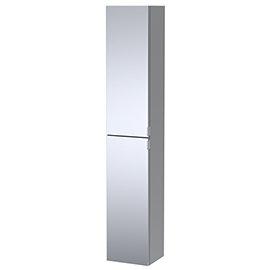 Arezzo Matt Grey Mirrored Wall Hung Tall Storage Cabinet with Chrome Handles
