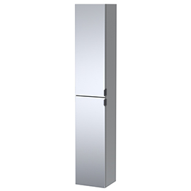 Arezzo Matt Grey Mirrored Wall Hung Tall Storage Cabinet with Matt Black Handles