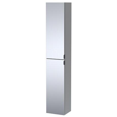 Arezzo Matt Grey Mirrored Wall Hung Tall Storage Cabinet with Matt Black Handles