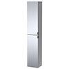 Arezzo Matt Grey Mirrored Wall Hung Tall Storage Cabinet with Matt Black Handles profile small image view 1