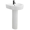 Arezzo Basin 520 Round 1TH Basin + Full Pedestal profile small image view 1
