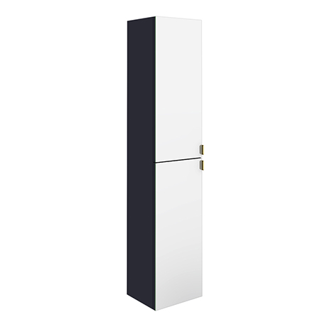 Arezzo Matt Blue Mirrored Wall Hung Tall Storage Cabinet with Brushed Brass Handles