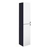 Arezzo Matt Blue Mirrored Wall Hung Tall Storage Cabinet with Brushed Brass Handles profile small image view 1