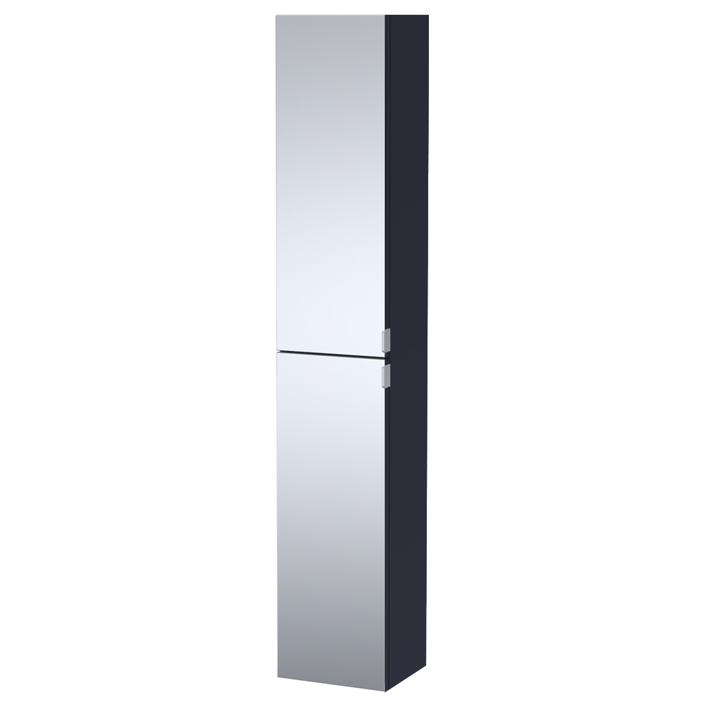 Arezzo Matt Blue Mirrored Wall Hung Tall Storage Cabinet with Chrome Handles