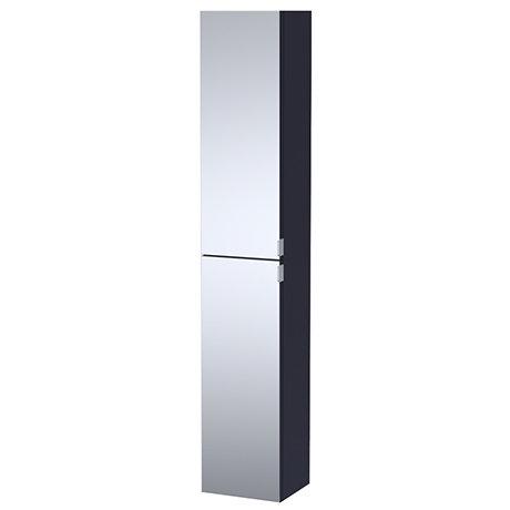 Arezzo Matt Blue Mirrored Wall Hung Tall Storage Cabinet with Chrome Handles