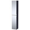 Arezzo Matt Blue Mirrored Wall Hung Tall Storage Cabinet with Chrome Handles profile small image view 1