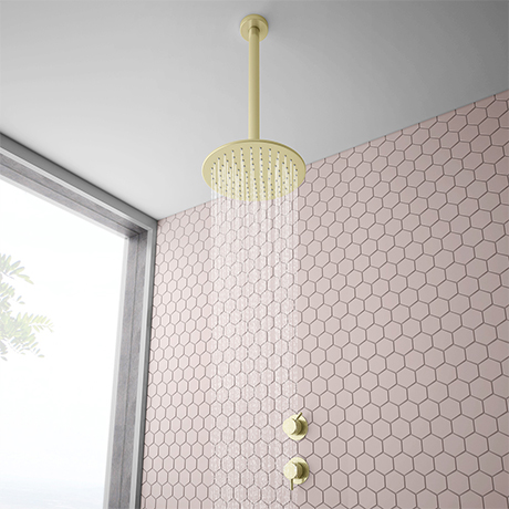 Arezzo Brushed Brass Concealed Individual Stop Tap + Thermostatic Control Valve with Ceiling Mounted