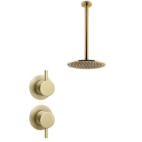 Arezzo Brushed Brass Concealed Individual Stop Tap + Thermostatic Control Valve with 200mm Ceiling M