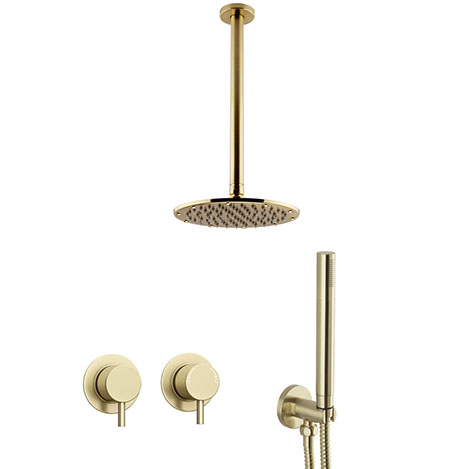 Arezzo Brushed Brass Concealed Individual Diverter + Thermostatic Control Valve with Handset + Ceili