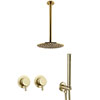 Arezzo Brushed Brass Concealed Individual Diverter + Thermostatic Control Valve with Handset + Ceiling Mounted Shower Head profile small image view 1