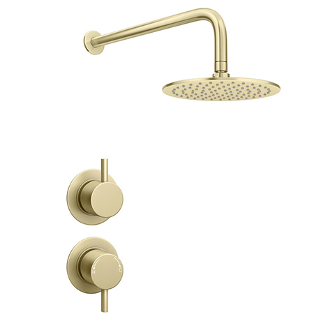Arezzo Brushed Brass Concealed Individual Stop Tap + Thermostatic Control Valve with Wall Mounted Sh