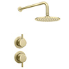 Arezzo Brushed Brass Concealed Individual Stop Tap + Thermostatic Control Valve with Wall Mounted Shower Head profile small image view 1