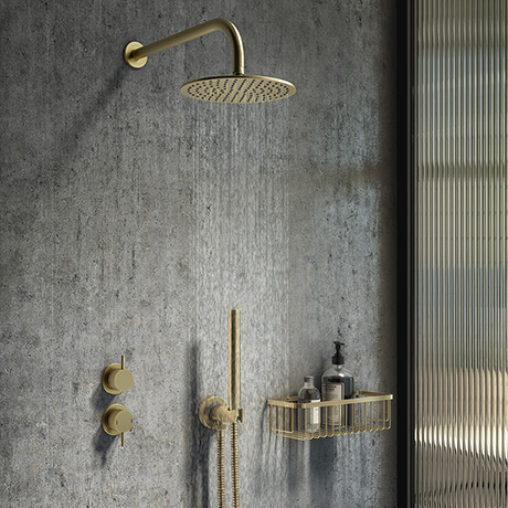 Arezzo Brushed Brass Concealed Individual Diverter + Thermostatic Control Valve with Handset + Wall