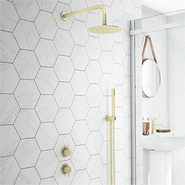 Arezzo Brushed Brass Concealed Individual Diverter + Thermostatic Control Valve with Handset + Wall Mounted Shower Head