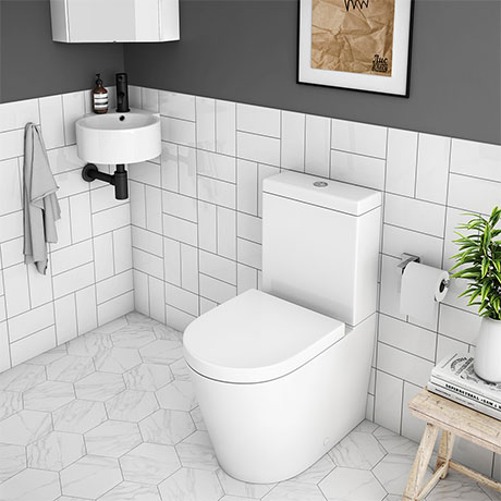 Arezzo Modern Cloakroom Suite (Toilet + Corner Basin)