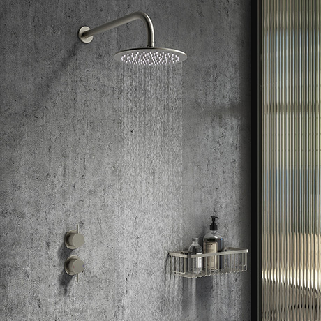 Arezzo Gunmetal Grey Concealed Individual Stop Tap + Thermostatic Control Valve with Wall Mounted Sh