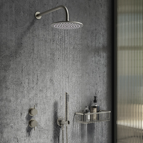 Arezzo Gunmetal Grey Concealed Individual Diverter + Thermostatic Control Valve with Handset + Wall
