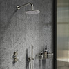 Arezzo Gunmetal Grey Concealed Individual Diverter + Thermostatic Control Valve with Handset + Wall Mounted Shower Head profile small image view 1