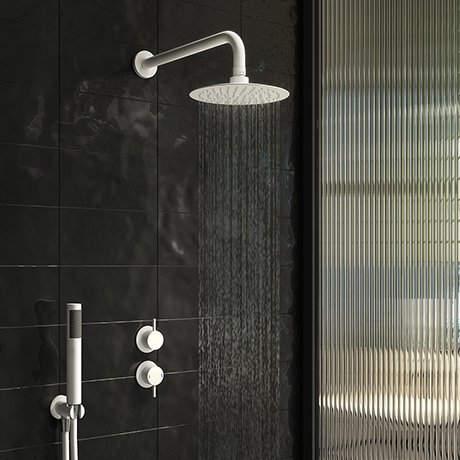 Arezzo Matt White Concealed Individual Diverter + Thermostatic Control Valve with Handset + Wall Mou