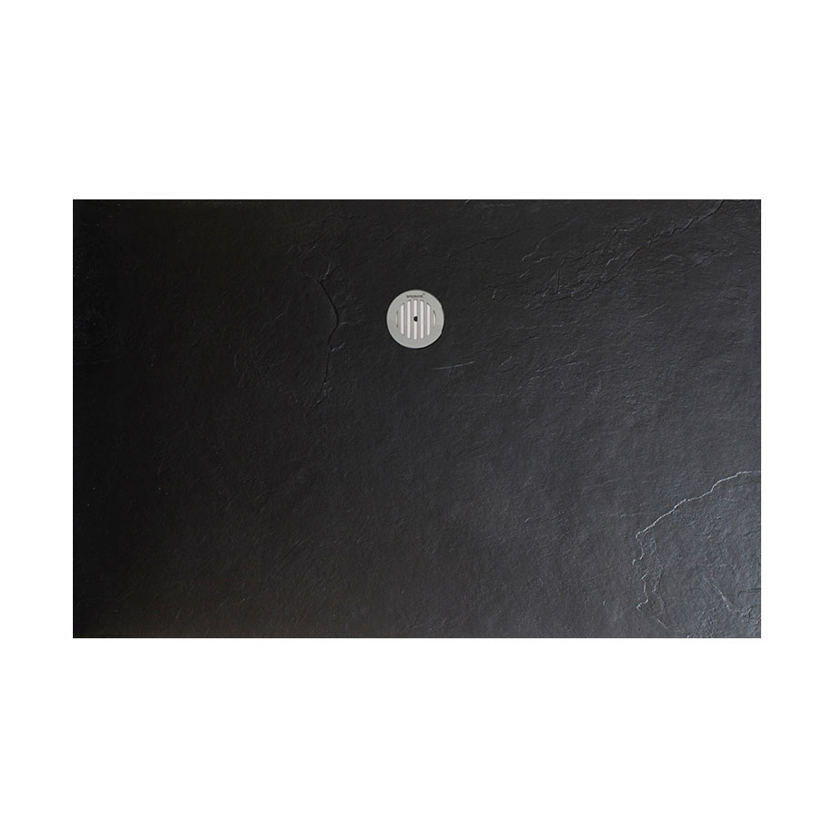 Simpsons - Black Textured Slate Effect Shower Tray with Waste - 5 Size options profile large image view 5