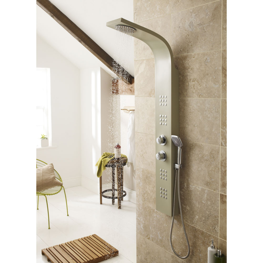 Ultra - Nesta Thermostatic Shower Panel - Cream - AS309 Profile Large Image