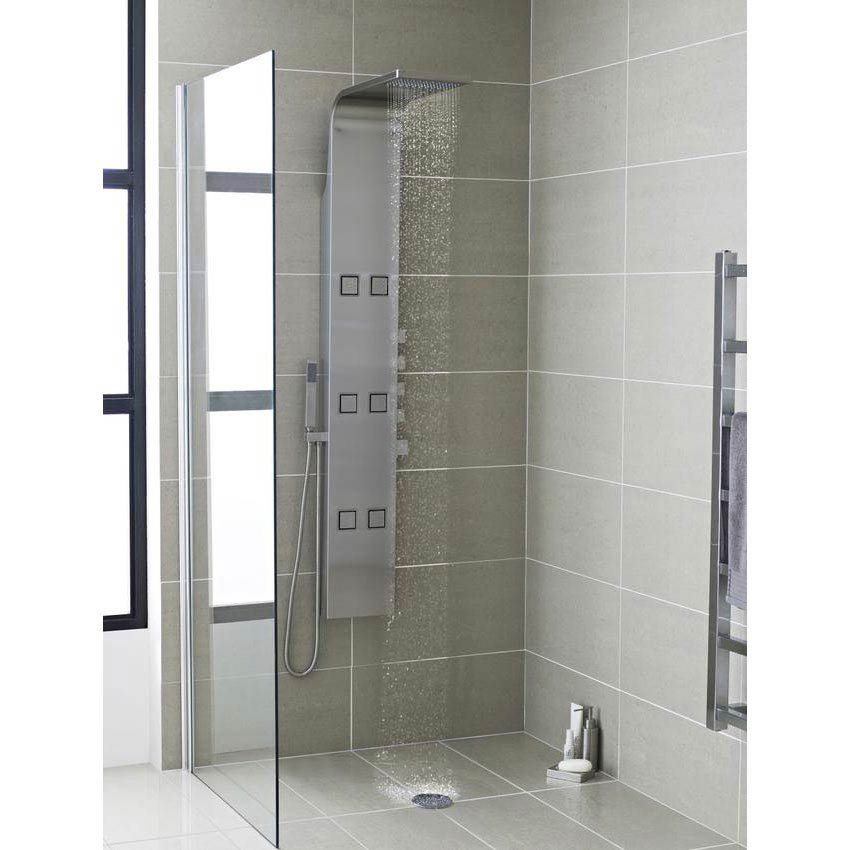 Hudson Reed Astral Thermostatic Shower Panel - Stainless Steel - AS326 Profile Large Image
