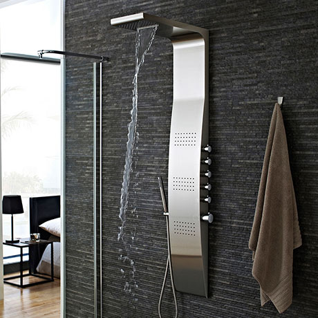 Hudson Reed - Surface Curve Stainless Steel Thermostatic Shower Panel - AS342