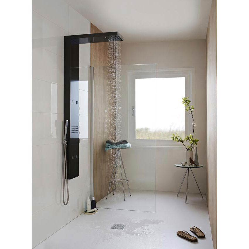 Hudson Reed - Dusk Thermostatic Shower Panel - Gun Metal - AS344 In Bathroom Large Image
