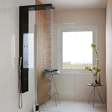 Hudson Reed - Dusk Thermostatic Shower Panel - Gun Metal - AS344