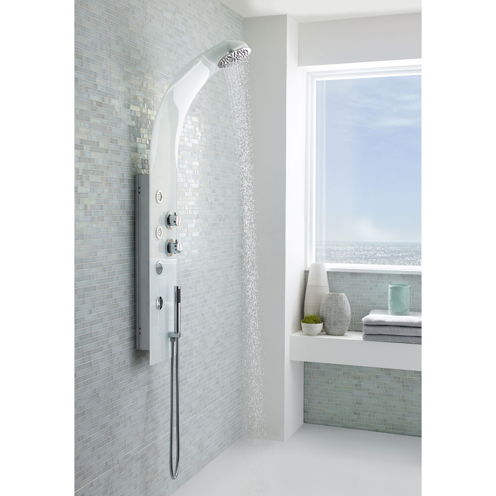 Premier - Deacon White Thermostatic Shower Panel - AS348 Profile Large Image
