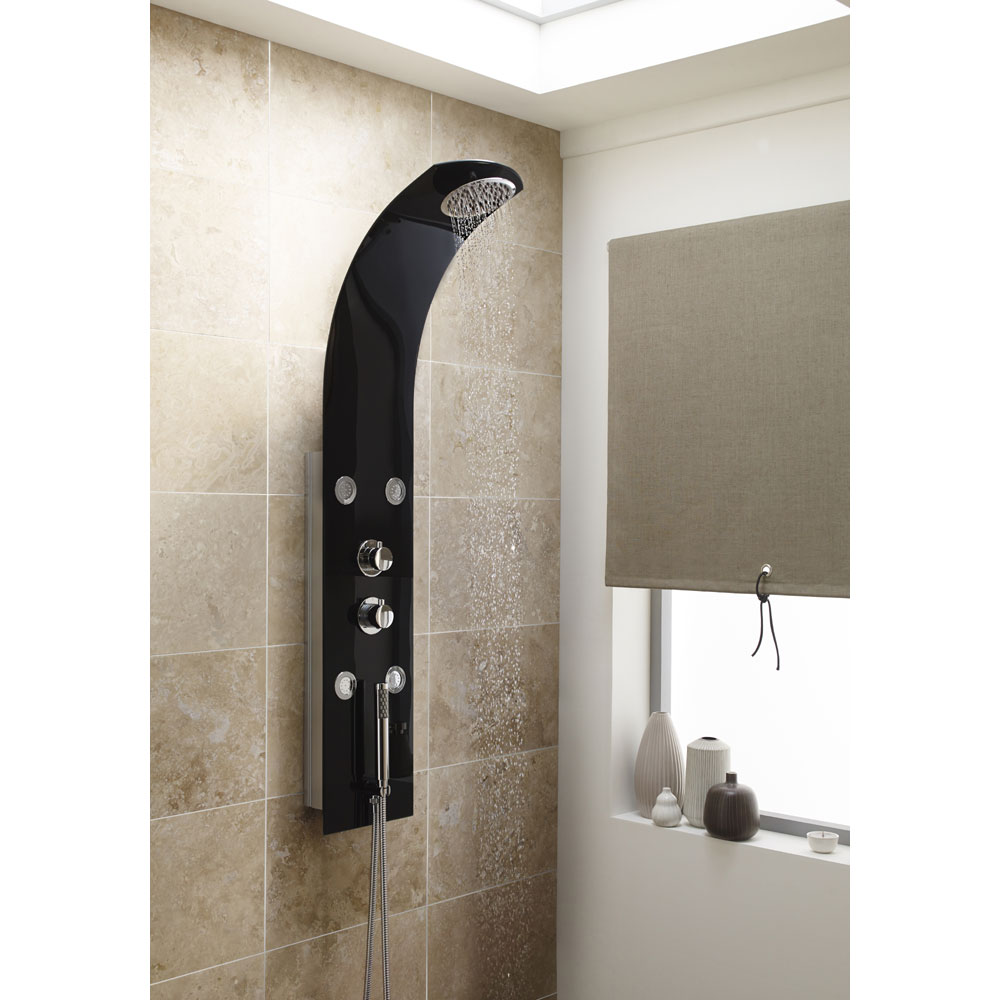 Premier - Portent Black Thermostatic Shower Panel - AS352 profile large image view 2