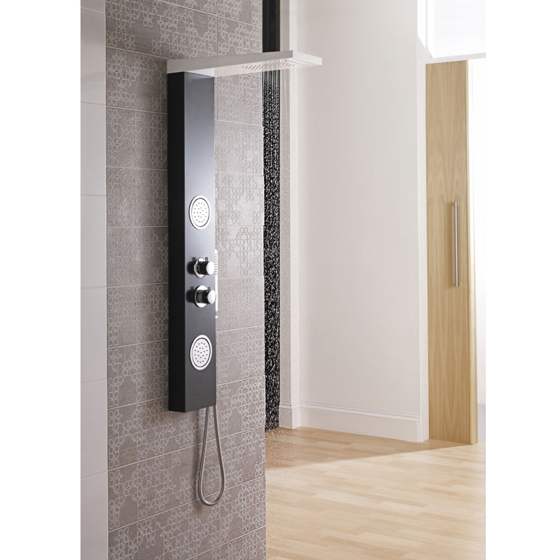 Ultra - Calgary Thermostatic Shower Panel - Black & White - AS372 profile large image view 2