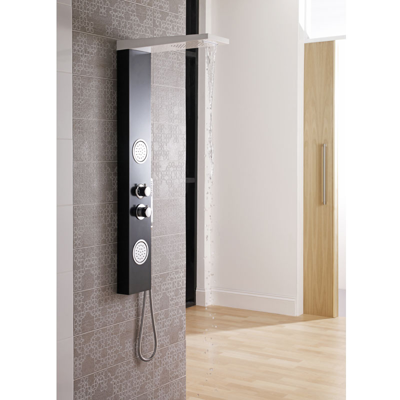 Ultra - Calgary Thermostatic Shower Panel - Black & White - AS372 Feature Large Image