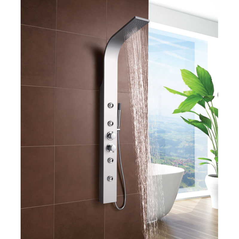 Ultra - Peyton Thermostatic Shower Panel - Matt Silver - AS376 profile large image view 2